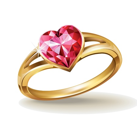 gold ring with pink heart gemstone Vector