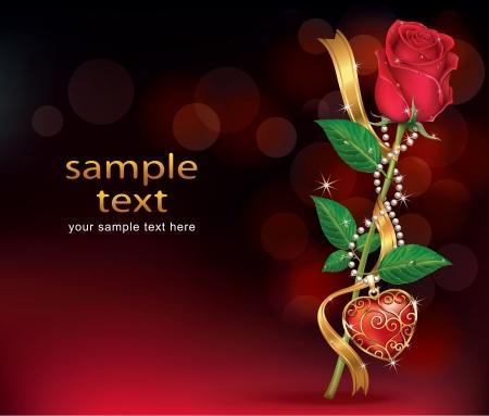 love rose: Rosas hermosas con Ribbon y collar Vectores