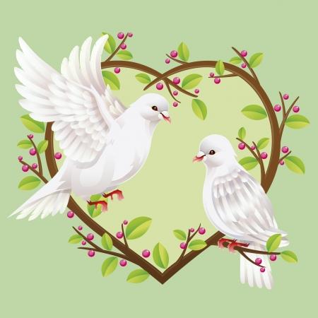 colomba della pace: Due colombe su un albero a forma di cuore Vettoriali
