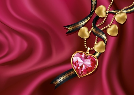 Necklace heart on red silk. Vector