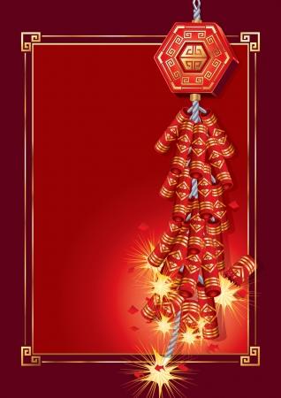galletas integrales: Petardos en la tarjeta del Año Nuevo Chino (vector). jpg versión también está disponible