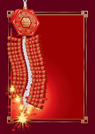 Petardos en la tarjeta del Año Nuevo Chino (vector). jpg versión también está disponible