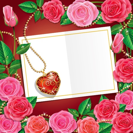 pearl: Valentine Card With Beautiful Roses and Necklet. Illustration