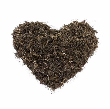 rough: Heart-Shape Soil Isolated on white background.