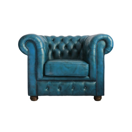 clipping  path: Classic Blue leather armchair isolated on white background with clipping path. Stock Photo