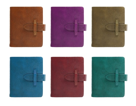 background calendar: set of all color leather notebook front cover