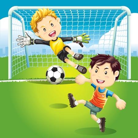 terrain foot: Les enfants qui jouent au soccer extérieur