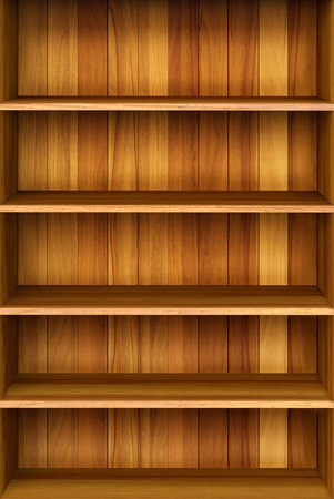 3d Wooden book Shelf background for ebook and tablet pc Stock Photo - 12801602