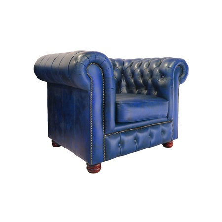 Classic dark blue leather armchair isolated on white background photo
