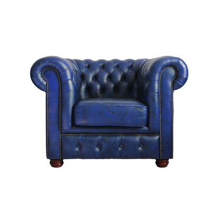 #12794391   Classic Dark Blue Leather Armchair Isolated On White Background