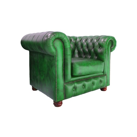 Classic Green leather armchair isolated on white background photo