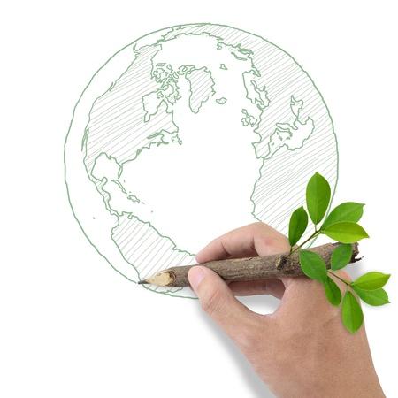 contribution: Male hand drawing world symbol