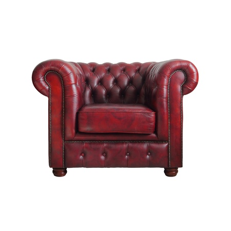 brown leather sofa: Classic Red leather armchair isolated on white background Stock Photo