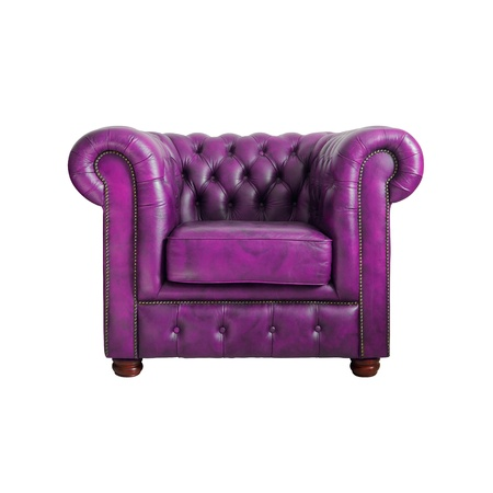 Classic violet leather armchair isolated on white background photo