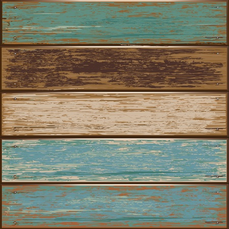weathered: illustration of Old color wooden texture background Illustration