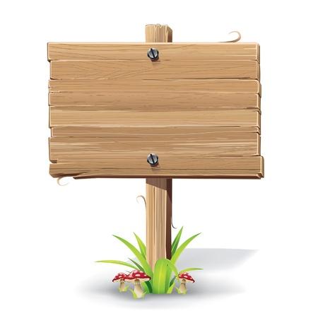 pancarte bois: illustration de panneau en bois sur une herbe avec des champignons