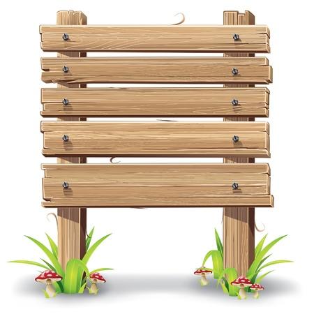 pannello legno: illustrazione di cartello in legno su un prato con i funghi