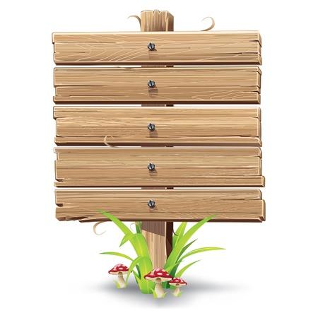 letrero: ejemplo de cartel de madera sobre un césped con setas