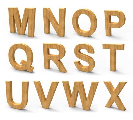 wood font isolated on white background  Stock Photo - 12801760