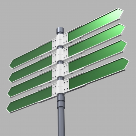 bollard: Blank direction sign with 8 arrows  add your text  with clipping path  Stock Photo