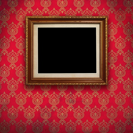 Gold frame with Red wallpaper background  photo
