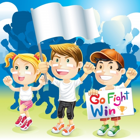 sport leisure: Group Kids Cheering with flag