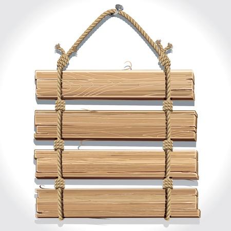 pannello legno: Cartello in legno con corda appesa a un chiodo