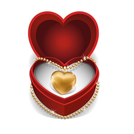 Gold Necklet with Gold Heart in Red Velvet Box  Vector