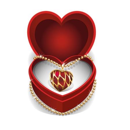 Collar de oro con piedras preciosas corazón rojo en caja de terciopelo rojo