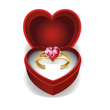 Gold ring with pink heart gemstone in Red Velvet Box  Vector