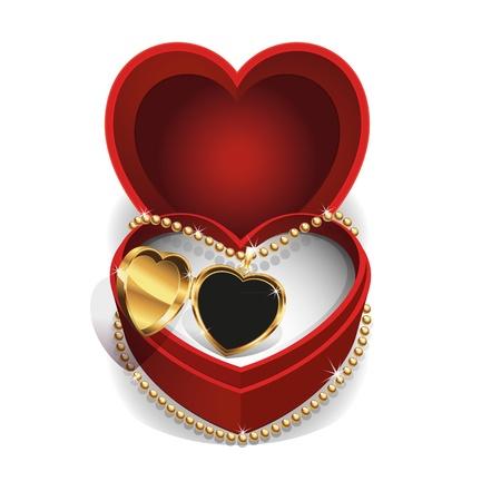 Or Médaillon pendentif dans l'encadré rouge de velours