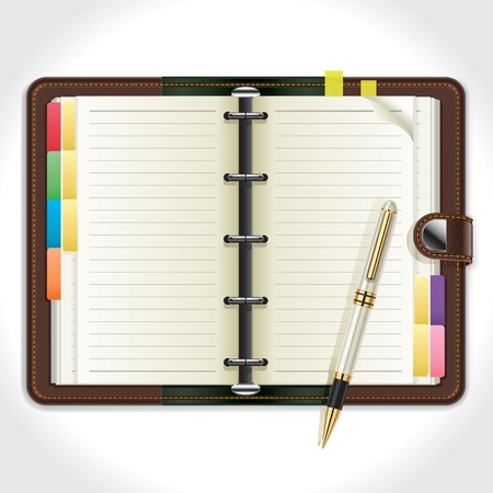 note pad and pen: Personal Organizer with Pen  Illustration