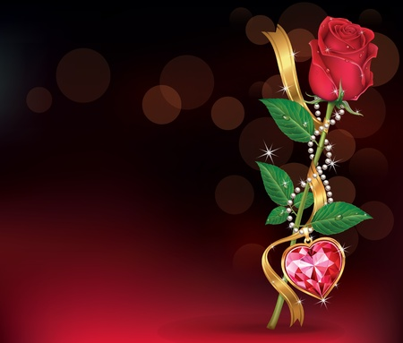 necklet: Beautiful Roses With Ribbon and Necklet  Illustration