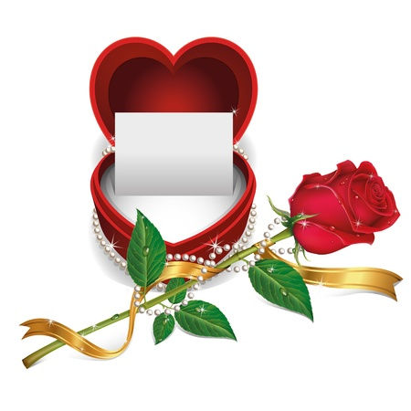 luxury lifestyle: White Card in Red Velvet Box and Beautiful Roses with Pearl Necklet  Illustration