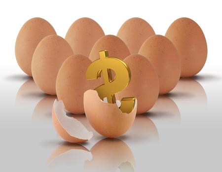 signo pesos: S�mbolo del d�lar en los huevos en el fondo blanco Foto de archivo