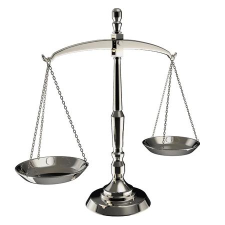 balanza en equilibrio: Escamas de plata de la justicia aisladas sobre fondo blanco.