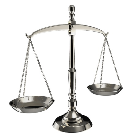 antique weight scale: Silver scales of justice isolated on white background.