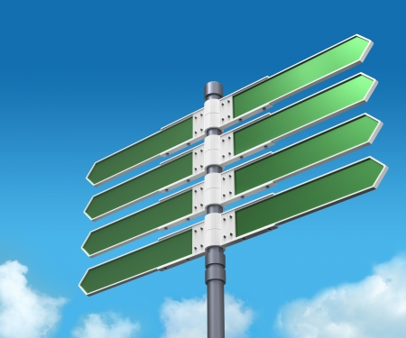 Blank direction sign with 8 arrows (add your text) on sky background. photo