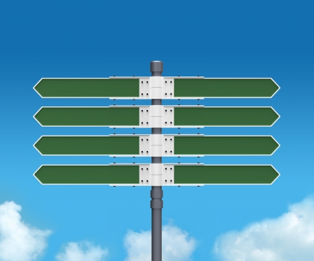 turn left sign: Blank direction sign with 8 arrows  add your text  on sky background