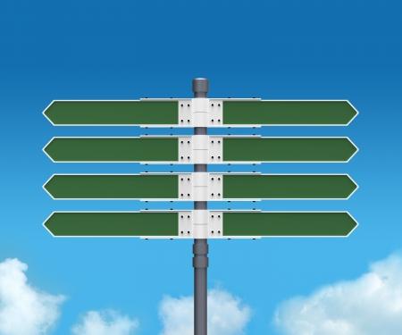 mapas conceptuales: Señal de dirección en blanco con 8 flechas añadir su texto en el fondo del cielo