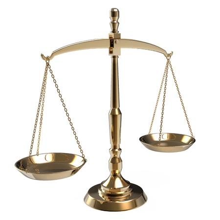 balanza en equilibrio: Escamas de oro de la justicia aisladas sobre fondo blanco Foto de archivo