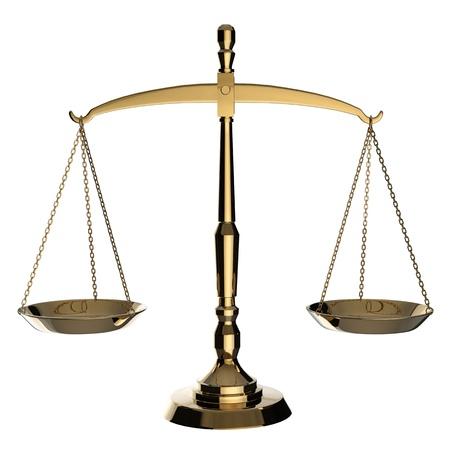 balanza en equilibrio: Escamas de plata de la justicia aisladas sobre fondo blanco