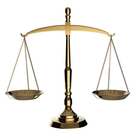 law scale: Silver scales of justice isolated on white background