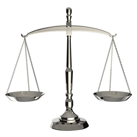 business law: Silver scales of justice isolated on white background
