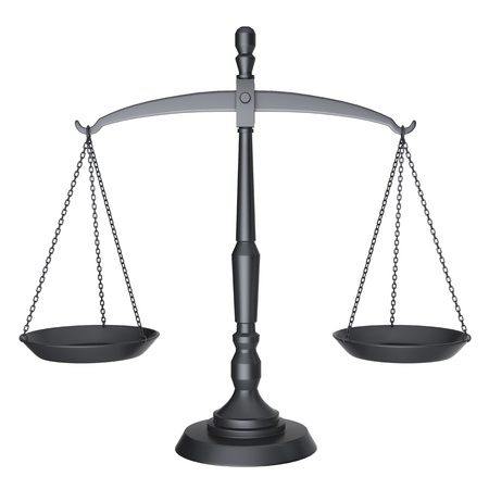 law scale: Black scales of justice isolated on white background  Stock Photo