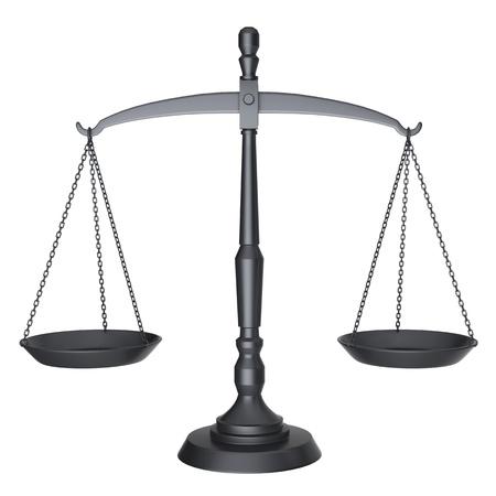 balanza en equilibrio: Las escalas de negro de la justicia aisladas sobre fondo blanco Foto de archivo