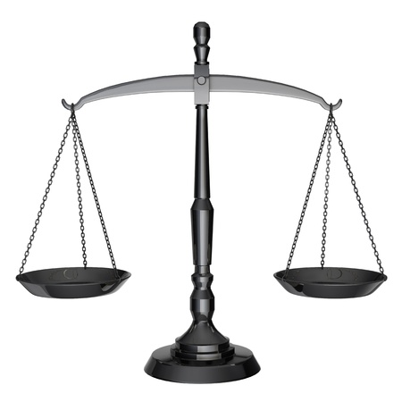 balanza justicia: Las escalas de negro de la justicia aisladas sobre fondo blanco Foto de archivo