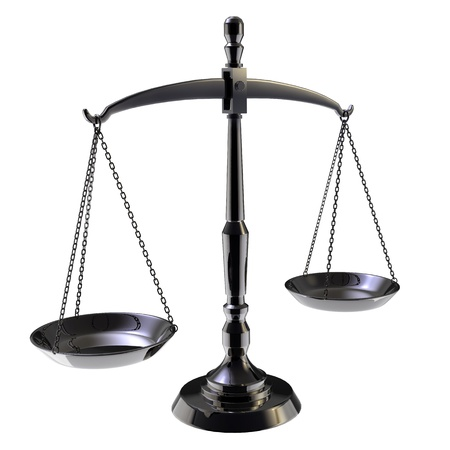 justice balance: Black scales of justice isolated on white background  Stock Photo
