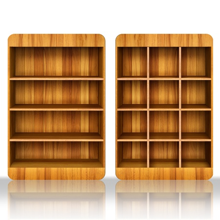 3d Wooden book Shelf background for ebook and tablet pc  photo