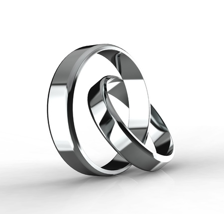 platinum wedding ring: Closeup of Platinum wedding bands on white background  Stock Photo